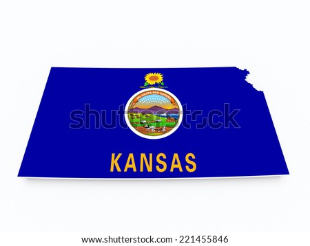 kansas state flag on 3d map - stock photo