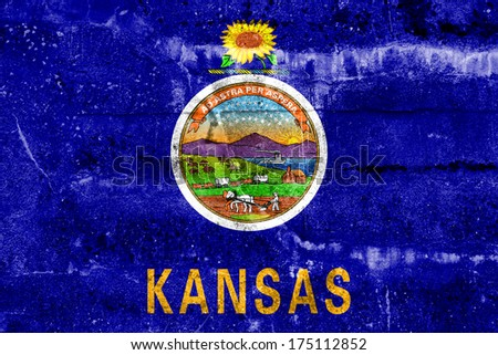 Kansas State Flag painted on grunge wall - stock photo