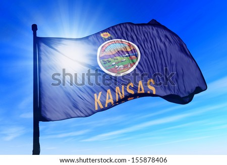 Kansas (USA) flag waving on the wind - stock photo