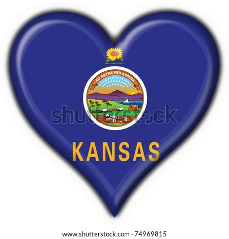 Kansas (USA State) button flag heart shape - 3d made - stock photo