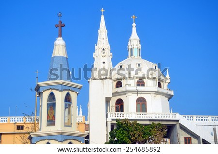 KANYAKUMARI, INDIA FEBRUARY 3, 2015: Our Lady of Ransom Church is a Catholic church that was built in the fifteenth century. It is dedicated to Mother Mary. - stock photo