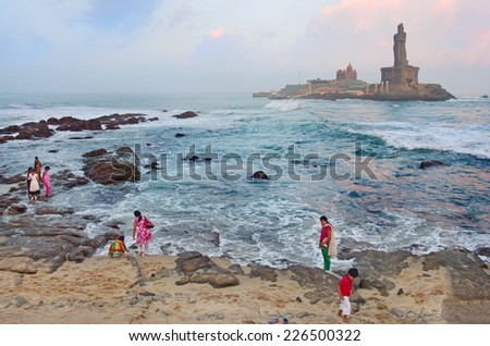 KANYAKUMARI, INDIA - OCT 14, 2014:   Statue of the poet  Thiruvalluvar  author of the Thirukkural. Kanyakumari is the southern most tip of India.   - stock photo