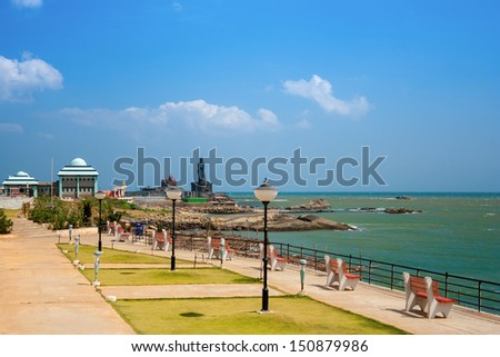 Kanyakumari. The city in the Indian state of Tamil Nadu, located in the most southern point of the Indian subcontinent at Cape Comorin. - stock photo