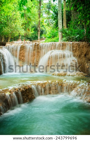 KAO FU waterfall in forest of national park, Lampang, Thailand  - stock photo
