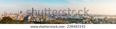 Kaohsiung, Taiwan - December 08,2014: Panoramic view of Kaohsiung at night from the top of Shoushan mountain