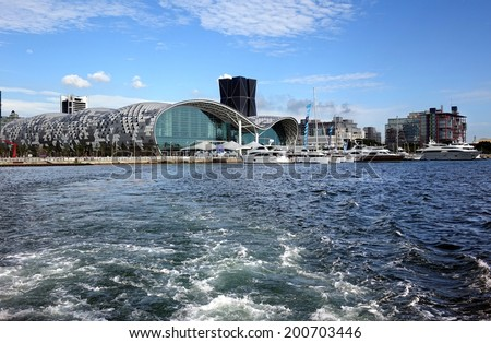 KAOHSIUNG, TAIWAN -- MAY 11, 2014: The newly opened Kaohsiung Exhibition Center during the 2014 Taiwan International Boat Show.