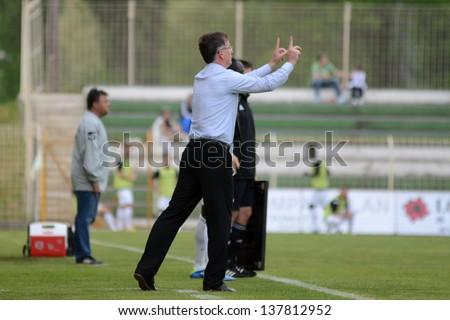 KAPOSVAR, HUNGARY - APRIL 27: Laszlo Prukner (Kaposvar trainer) in action at a Hungarian Championship soccer game - Kaposvar (white) vs Szombathely (black) on April 27, 2013 in Kaposvar, Hungary. - stock photo