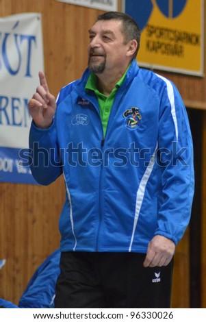 KAPOSVAR, HUNGARY - FEBRUARY 23: Gyorgy Demeter (C) Kaposvar trainer in action at a Hungarian volleyball Championship game Kaposvar (blue) vs. Csepel, on February 23, 2012 in Kaposvar, Hungary. - stock photo
