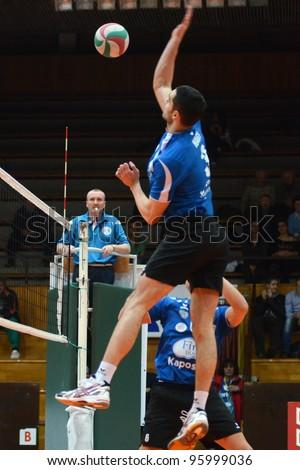 KAPOSVAR, HUNGARY - FEBRUARY 23: Jozsef Nagy in action at a Hungarian volleyball National Championship game Kaposvar (blue) vs. Csepel ( deep blue), on February 23, 2012 in Kaposvar, Hungary. - stock photo