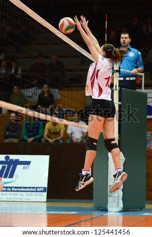 KAPOSVAR, HUNGARY - JANUARY 13: Agnes Recsei in action at the Hungarian I. League volleyball game Kaposvar (white) vs Budapest SE (white), January 13, 2013 in Kaposvar, Hungary.