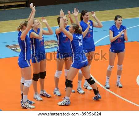 KAPOSVAR, HUNGARY - OCTOBER 23: Bekescsaba players before a Hungarian NB I. League woman volleyball game Kaposvar vs Bekescsaba, October 23, 2011 in Kaposvar, Hungary. - stock photo
