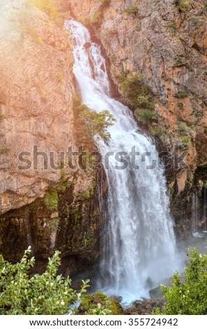 Kapuzbasi waterfall Kayseri Turkey - stock photo