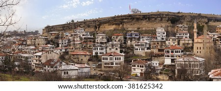 KARABUK, TURKEY - JAN 21, 2016: City of Safranbolu. The old town preserves many old buildings with 1008 registered historical artifacts.Safranbolu was added to the list of UNESCO World Heritage sites. - stock photo