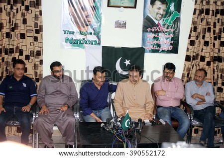 KARACHI, PAKISTAN - MAR 14: Former MQM  leader Raza Haroon addresses to media persons during press conference regarding his joining announcement with former Karachi mayor on March 14, 2016 in Karachi. - stock photo