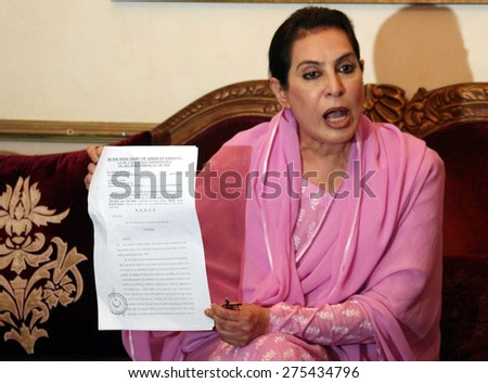 KARACHI, PAKISTAN - MAY 05: Former Speaker National Assembly Dr. Fahmida Mirza  addresses to media persons during press conference held at her residency on May 05, 2015 in Karachi.