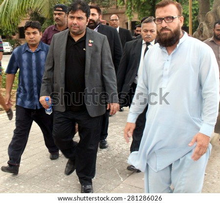KARACHI, PAKISTAN - MAY 25: Founder and CEO Axact, Shoaib Sheikh coming to Sindh High Court to file an application for his grant of bail before arrest, on May 25, 2015 in Karachi.