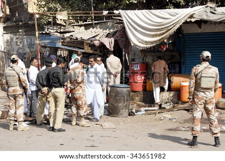 KARACHI, PAKISTAN - NOV 25: View of venue after blast in an oil shop located at Lee  Market area on November 25, 2015 in Karachi. According to rescuers at least one  person was killed and five injured.  - stock photo