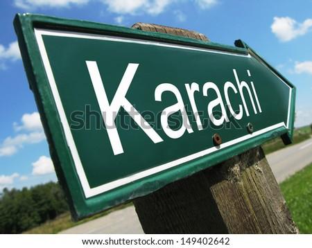 Karachi road sign - stock photo