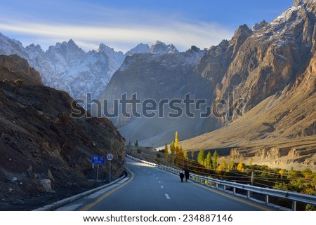 Karakorum highway. Autumn season in Northern Pakistan. - stock photo