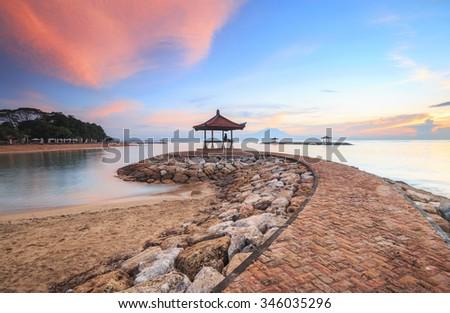 Karang beach Sanur, Bali, Indonesia in the morning - stock photo