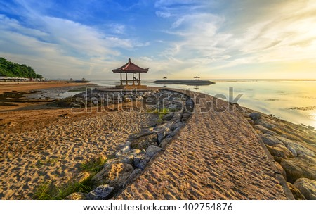 Karang beach Sanur, Bali, Indonesia in the morning.Slightly Noise And Soft Focus. - stock photo