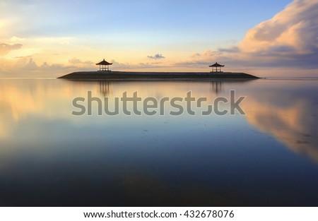 Karang beach Sanur sunrise in Bali Indonesia - stock photo