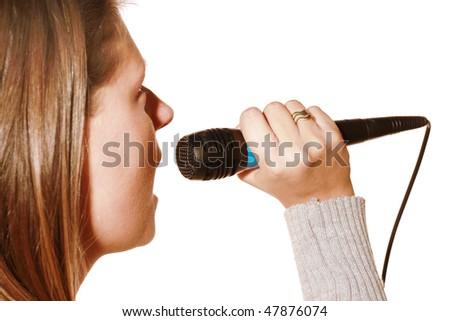 karaoke singing girl - stock photo