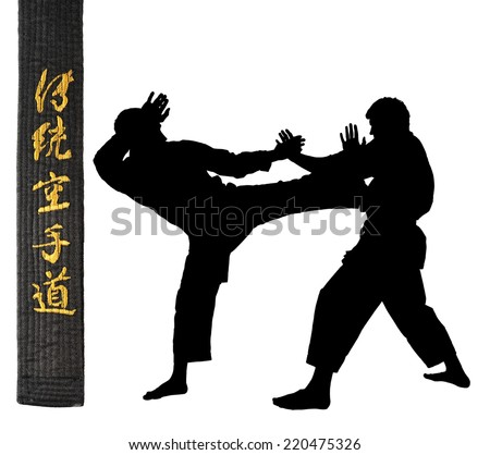 Karate athletes on a white background.Character karate.silhouette.Black belt in karate - stock photo