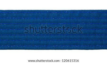 Karate blue belt closeup isolated on white background