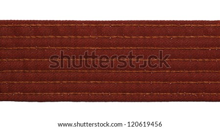 Karate brown belt closeup isolated on white background - stock photo
