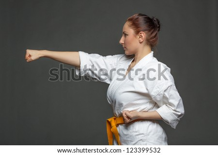 Karate girl. - stock photo