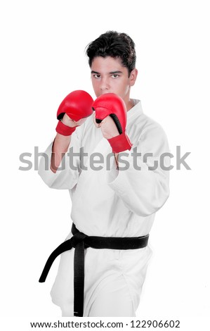 Karate male fighter young  on white background - stock photo