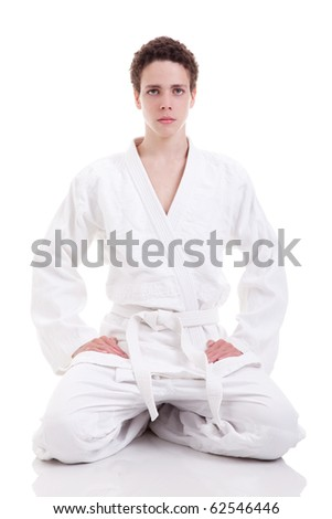 karate man on white background, studio shot - stock photo