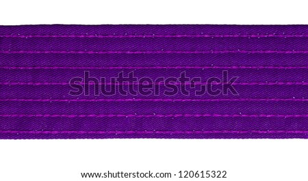 Karate purple belt closeup isolated on white background