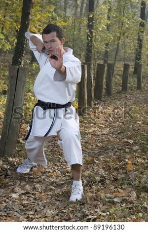 Karate training with nunchaku-spinning - stock photo