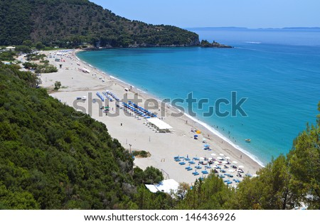 Karavostasi beach near Syvota town in Greece. Ionian sea - stock photo