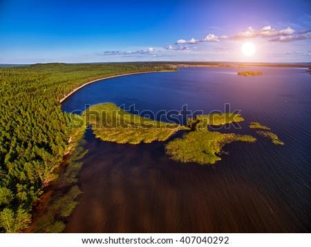 Karelia Landcape Sunset Aerial - stock photo