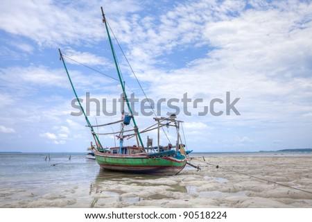 Karimunjawa Fishing Boat, Indonesia. Tropical beach, white sand, blue sky's - stock photo
