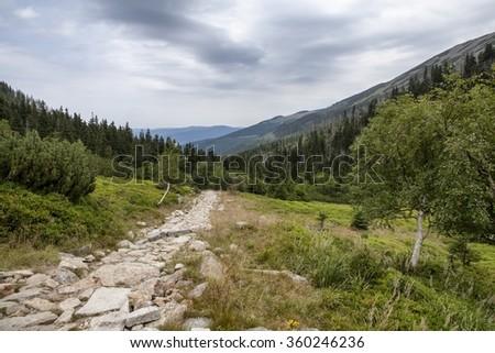Karkonosze (Giant) mountains in Poland - stock photo