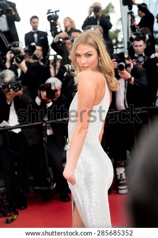 Karlie Kloss attends the opening ceremony and premiere of 'La Tete Haute' ('Standing Tall') during the 68th annual Cannes Film Festival on May 20, 2015 in Cannes, France. - stock photo