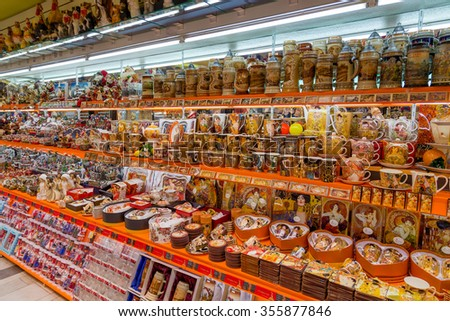 KARLOVY VARY, CZECH REPUBLIC - DECEMBER 25: Souvenir shop interior on December 25, 2013 in Karlovy Vary. Karlovy Vary is touristic spa city situated in western Bohemia famous for its hot springs. - stock photo