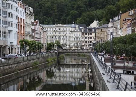 KARLOVY VARY, CZECH REPUBLIC - JUNI 20, 2015: It's a spa town situated in western Bohemia, Czech Republic, on the confluence of the rivers Ohre and Tepla.  - stock photo