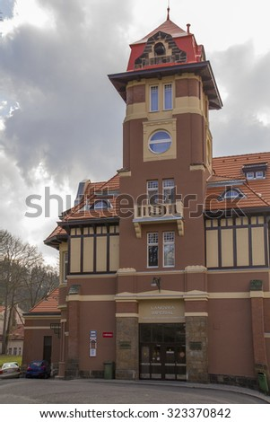 Karlovy Vary,Czech Republic - March 21: Funicular station - Imperial, in Karlovy Vary on  March 21, 2014. Karlovy Vary historically famous for its hot springs - stock photo