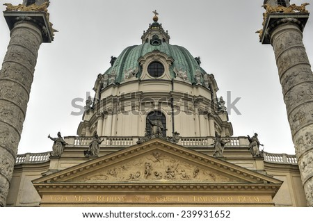 Karlskirche (Saint Charles Church) in Vienna, Austria - stock photo