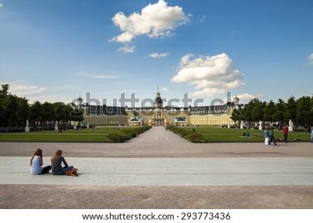 Karlsruhe castle, Baden-Wuerttemberg, Germany - stock photo