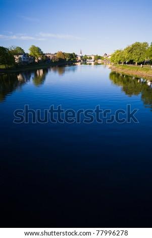 Karlstad city with river klaralven running through - stock photo
