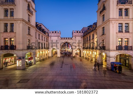 Karlstor Gate and Karlsplatz Square in the Evening, Munich, Germany - stock photo