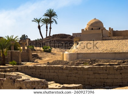 Karnak temple complex in Luxor - historical travel. Great landmarks of Ancient Thebes. Sample of Arabtian architecture and art. - stock photo