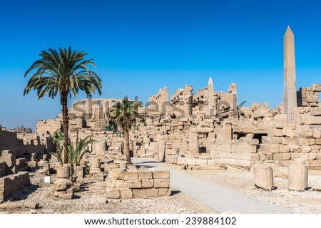 Karnak temple complex, Luxor, Egypt (Ancient Thebes with its Necropolis), a vast mix of decayed temples, chapels, pylons, and other buildings. UNESCO World Heritage site.