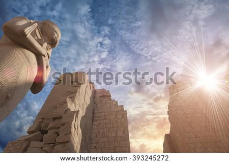 Karnak temple in Luxor, Egypt - stock photo